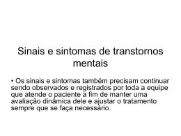 Sinais e sintomas de transtornos mentais