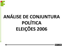 ANÁLISE DE CONJUNTURA POLÍTICA ELEIÇÕES