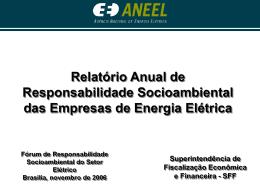 Relatório Anual de Responsabilidade Socioambiental das