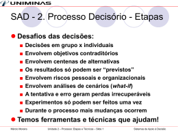 Unidade 2 - Processo Decisório - Lopes & Gazzani Planejamento Ltda