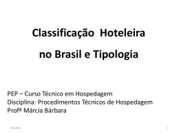 Classificação Hoteleira no e Brasil Tipologia