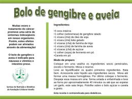 Bolo de gengibre e aveia - Fundação Cristiano Varella