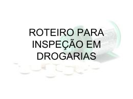 ROTEIRO PARA INSPEÇÃO DE UMA DROGARIA