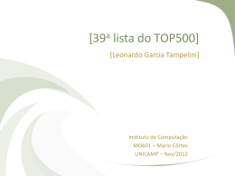 39a lista do TOP500] - Instituto de Computação
