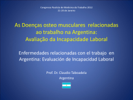 As Doenças osteo musculares relacionadas ao trabalho na Argentina