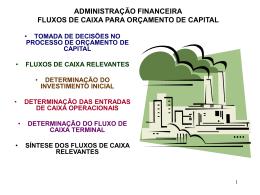 PRINCÍPIOS DE FLUXOS DE CAIXA E ORÇAMENTO DE CAPITAL