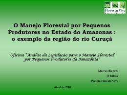 O Manejo Florestal por Pequenos Produtores no Estado do