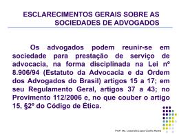AS SOCIEDADES DE ADVOGADOS