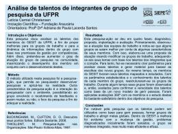 Análise de talentos de integrantes de grupo de pesquisa