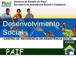 Governo do Estado do Piauí Secretaria da Assistência Social e