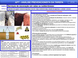APT 01 - Serviços de Escavação em Valas Subterrâneas