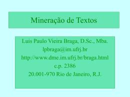 Mineração de textos - Instituto de Matemática