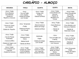 cardápio - almoço - Prefeitura Municipal de Colômbia