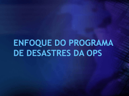 Enfoque do Programa de Desastres da OPAS