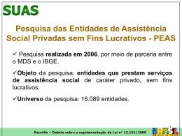 Inscrição de entidades de Assistência Social, fiscalização