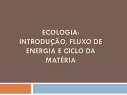Ecologia: introdução, fluxo de energia e ciclo da matéria