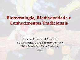 biotecnologia, biodiversidade e conhecimentos