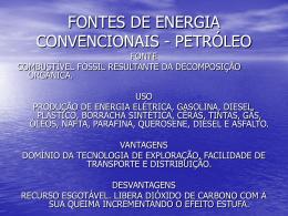 fontes de energia convencionais - petróleo