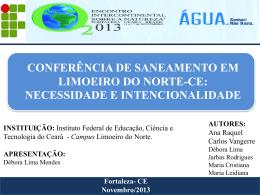 I Conferência Municipal de Saneamento Ambiental