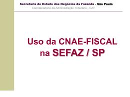 Uso da Cnae fiscal na Sefaz/SP