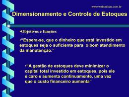 Dimensionamento e Controle de estoque