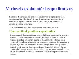 Variáveis explanatórias qualitativas