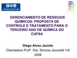 GERENCIAMENTO DE RESIDUOS QUÍMICOS