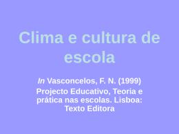 Clima e cultura de escola