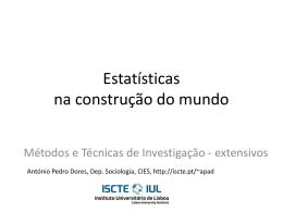 Estatísticas na construção do mundo - MTI