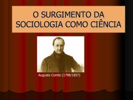 o surgimento da sociologia como ciencia i