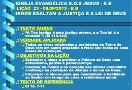 IGREJA EVANGÉLICA SOS JESUS - EB LIÇÃO 23