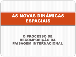 AS NOVAS DINAMICAS ESPACIAIS