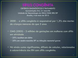 Sífilis congênita (critérios diagnósticos e