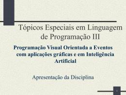 Apresentação da disciplina - Instituto de Computação