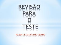 REVISÃO PARA O TESTE