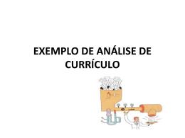 EXEMPLO DE ANÁLISE DE CURRÍCULO
