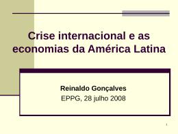 Contexto internacional e as economias da América Latina