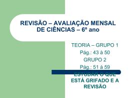 REVISÃO – AVALIAÇÃO MENSAL DE CIÊNCIAS – 6º ano