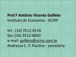 Aprentação Professor Vicente Golfeto