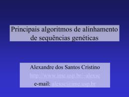 Principais algoritmos de alinhamento de sequências - IME-USP