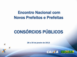 Consórcios públicos municipais - Encontro Nacional com Novos