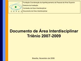Apresentação documento Área Interdisciplinar