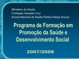 programa de formaçào área da promoção da saúde e
