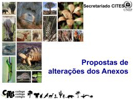 Propostas de Alterações dos Anexos