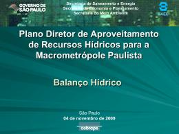 Simulação - Balanço Hídrico- CTH 04/11/09