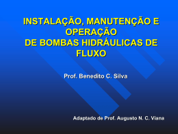 INSTALAÇÃO, MANUTENÇÃO E OPERAÇÃO DE BOMBAS