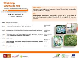 Biotecnologia Alimentação, Agricultura e Pescas
