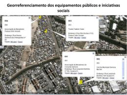 Georreferenciamento dos equipamentos públicos e iniciativas sociais