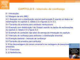 CAP. 5 - Estatística Industrial - Controle Estatístico de Qualidade