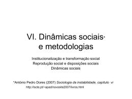 Dinâmicas sociais e metodologia